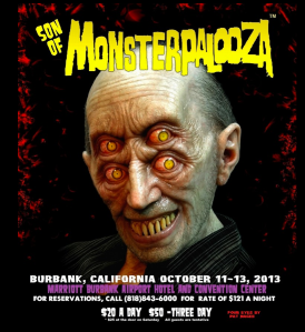 "Son of Monsterpalooza poster featuring ""Four Eyes"" by Pat Magee"